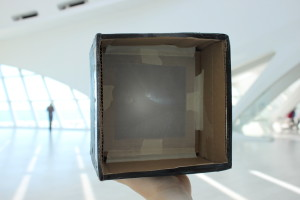 Example camera obscura, which shows an upside-down image of the scene in front of it.