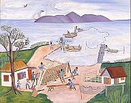 Rigaud Benoit (Haitian, 1911–1986), Boat Builders and Fishermen, ca. 1953. Oil on Masonite. Milwaukee Art Museum, Gift of Richard B. Flagg M1977.168. Photo credit: Efraim Lev-er