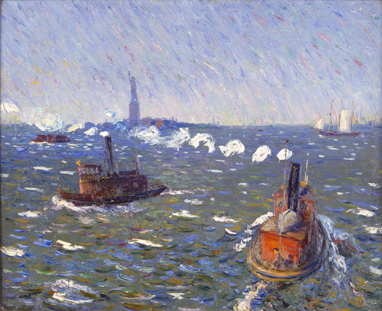 William James Glackens (American, 1870-1938), Breezy Day, Tugboats, New York Harbor, ca. 1910. Oil on canvas. Milwaukee Art Museum, gift of Mr. and Mrs. Donald B. Abert and Mrs. Barbara Abert Tooman M1974.230. Photo credit: John Nienhuis