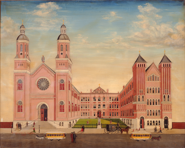 Rev. Nazarenus Graziani American, active 19th century, Church of the Assumption (The Pink Cathedral), 1885. Oil on canvas. Milwaukee Art Museum, The Michael and Julie Hall Collection of American Folk Art M1989.204. Photo credit: John Nienhuis