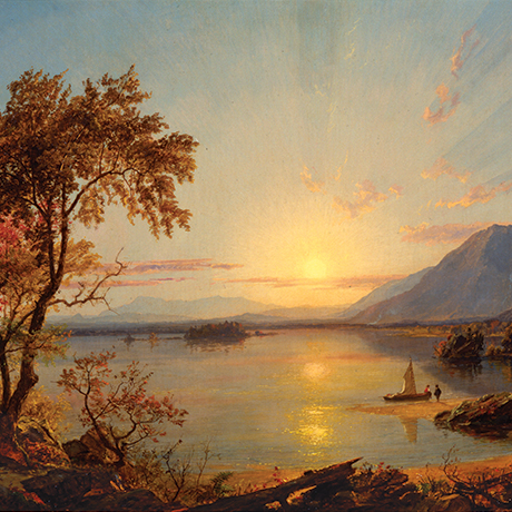 Jasper Francis Cropsey (1823-1900), Sunset, Lake George, New York, 1867. Oil on canvas. The New-York Historical Society, The Robert L. Stuart Collection, the gift of his widow Mrs. Mary Stuart
