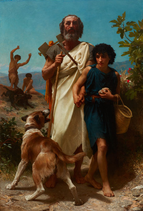 William-Adolphe Bouguereau (French, 1825–1905), Homer and His Guide (Homère et son guide), 1874, Oil on canvas, 82 1/4 x 56 1/4 in. (208.92 x 142.88 cm) framed: 99 1/2 × 73 3/4 × 5 1/2 in. (252.73 × 187.33 × 13.97 cm), Layton Art Collection Inc., Gift of Frederick Layton L1888.5