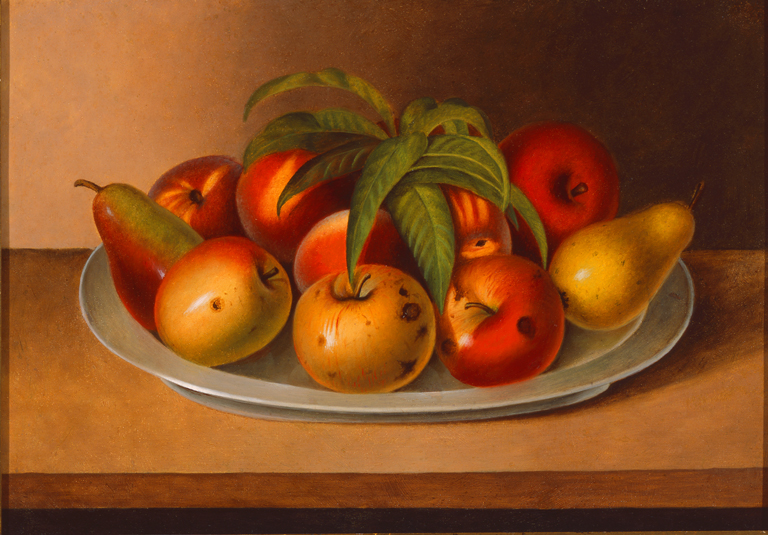 Rubens Peale (American, 1784-1865), Apple and Two Pears on a Pewter Plate, 1861. Oil on tin panel. Milwaukee Art Museum, Layton Art Collection, Purchase, L1960.1. Photo credit: John R. Glembin